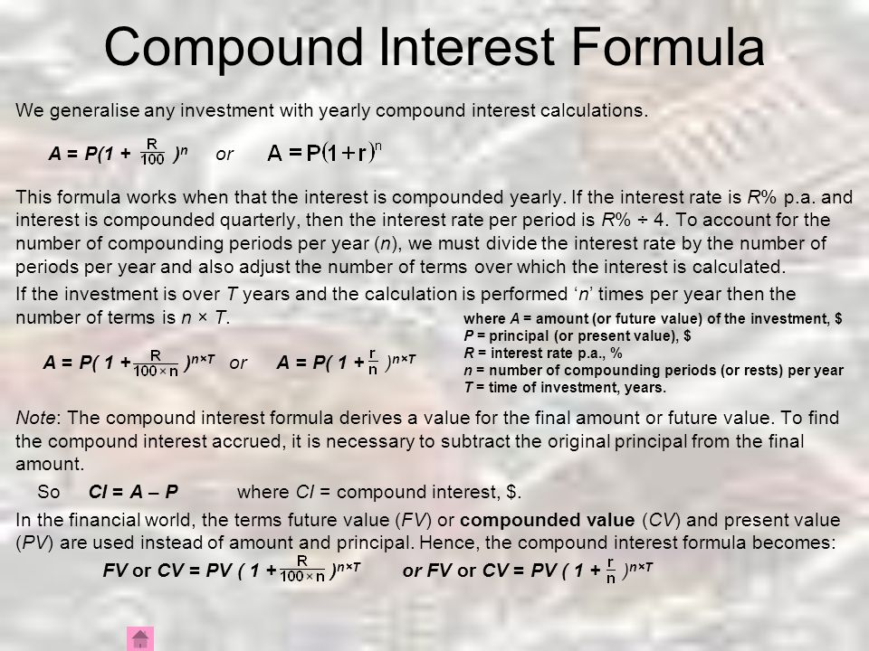 Compound Interest Formula Rearranging For P And R