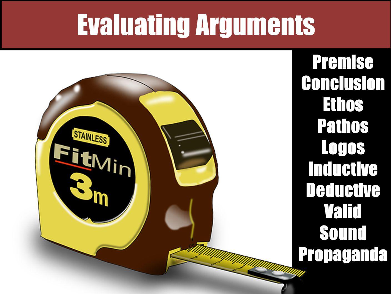 Evaluating Arguments Premise Conclusion Ethos Pathos Logos