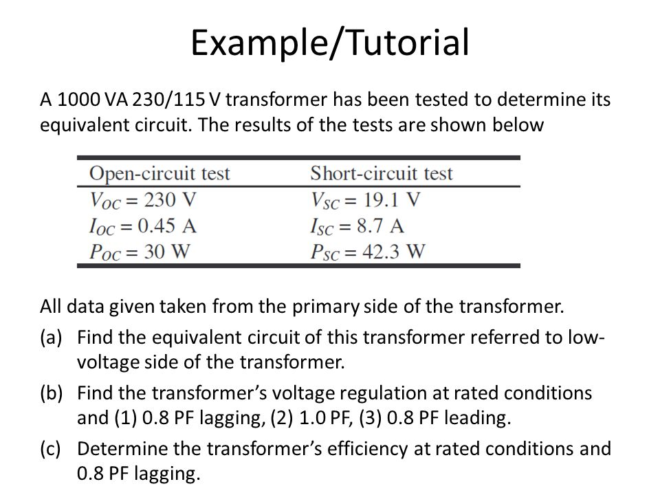 Open-circuit and short-circuit tests, exciting admittance, and.