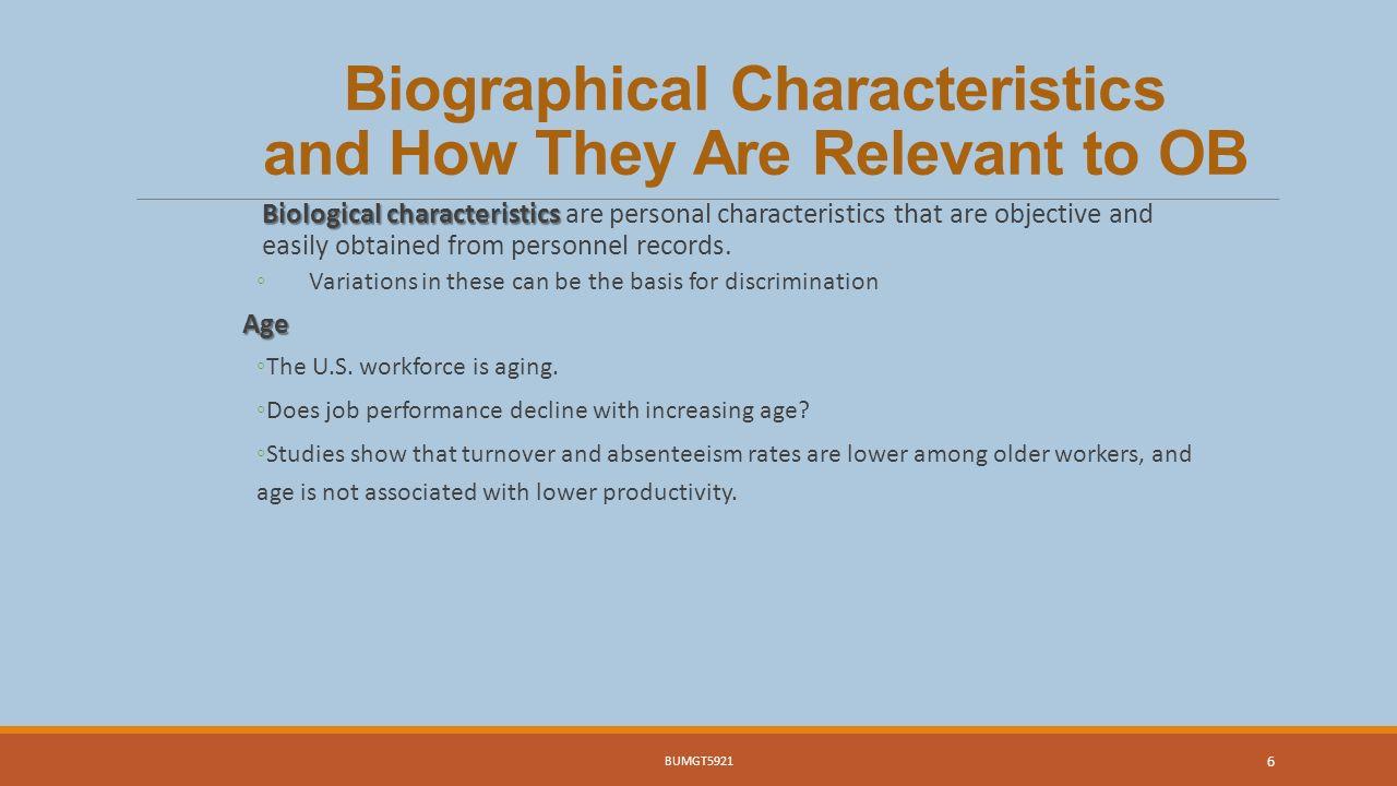 explain biographical characteristics