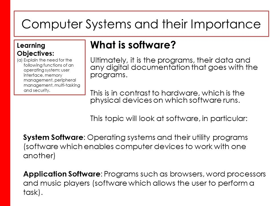 importance of computer hardware and software