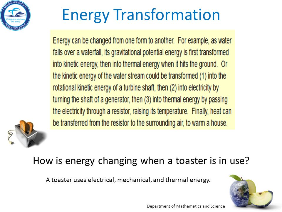 energy transformation examples Energy transformations the main source of the world's energy for the last century has been fossil fuels coal and peat, oil (petroleum), and natural gas - formed from the fossils of once living things - are the primary fuels used to power today's society.