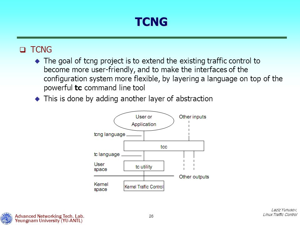 Linux Traffic Control and usage of tc/tcng for traffic engineering