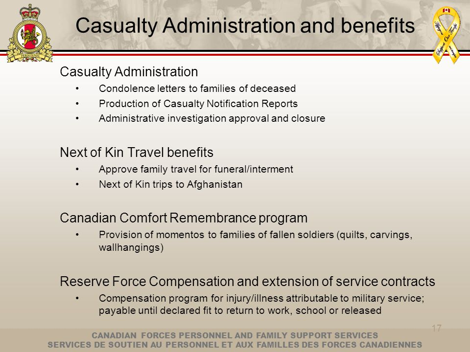 Casualty Administration and benefits