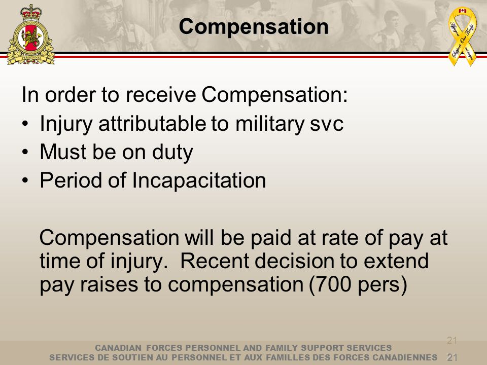 In order to receive Compensation: Injury attributable to military svc