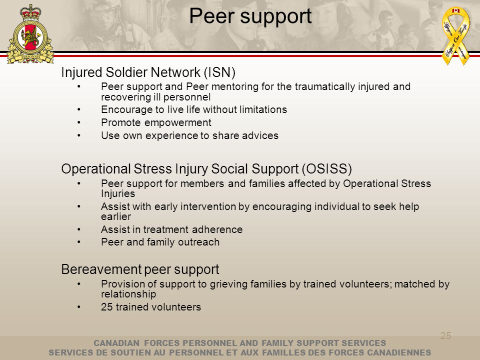 Peer support Injured Soldier Network (ISN)