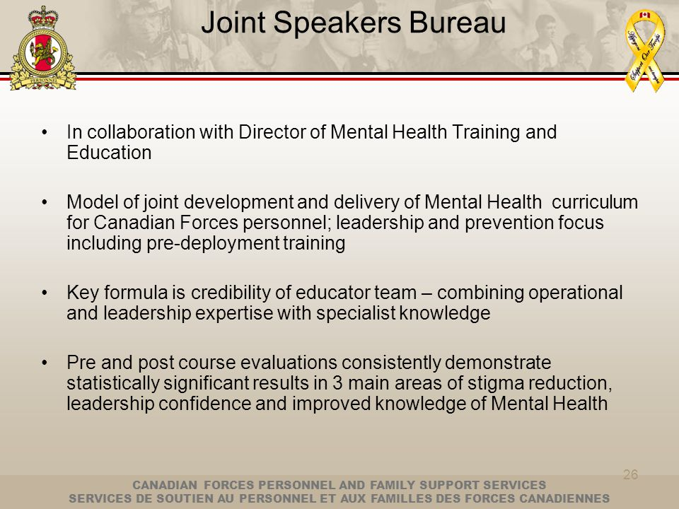 Joint Speakers Bureau In collaboration with Director of Mental Health Training and Education.