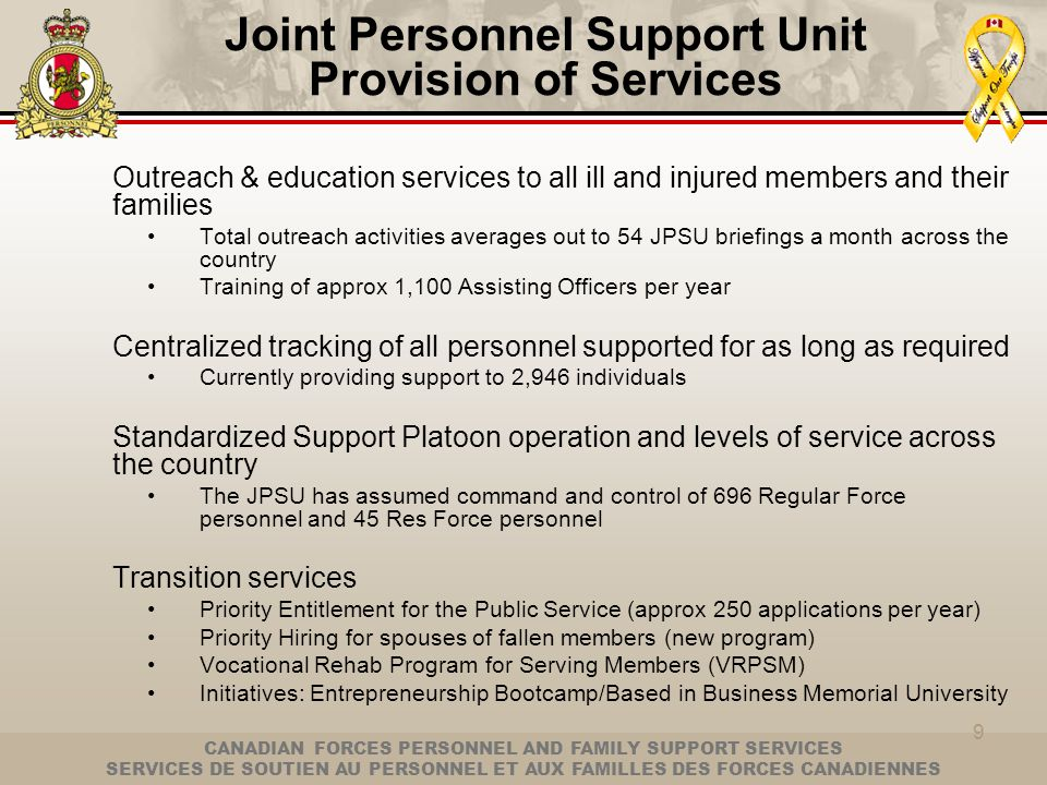 Joint Personnel Support Unit Provision of Services