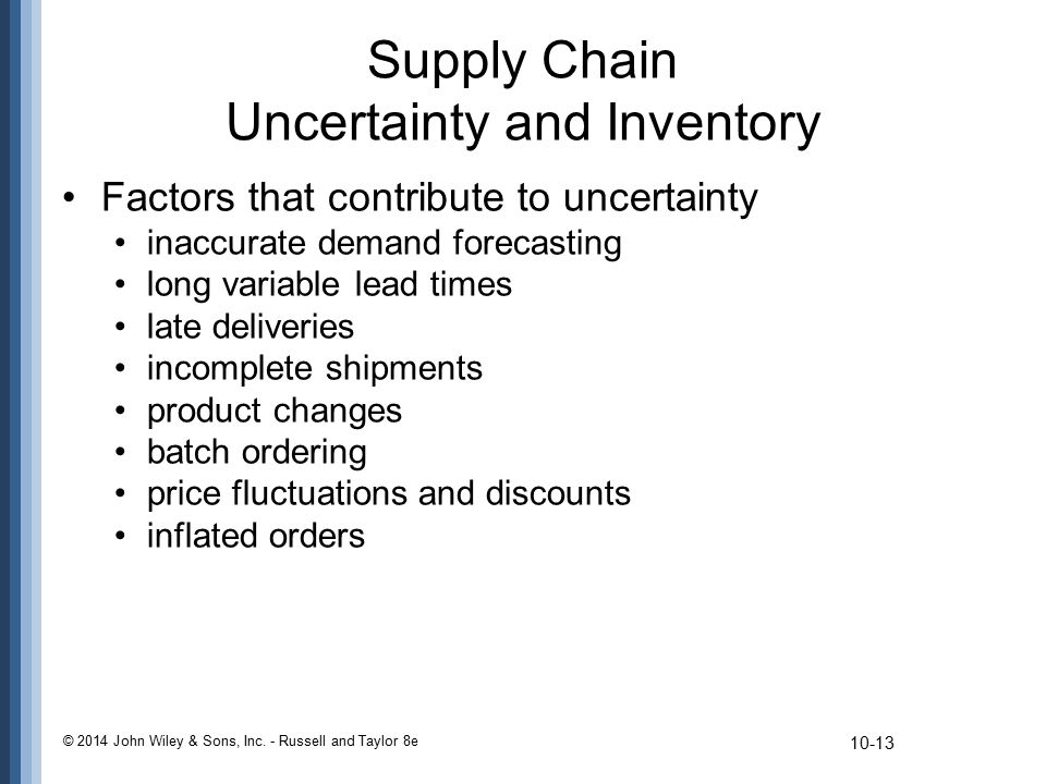 Supply Chain Uncertainty and Inventory