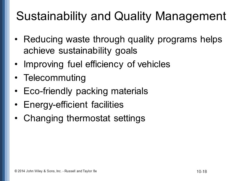 Sustainability and Quality Management