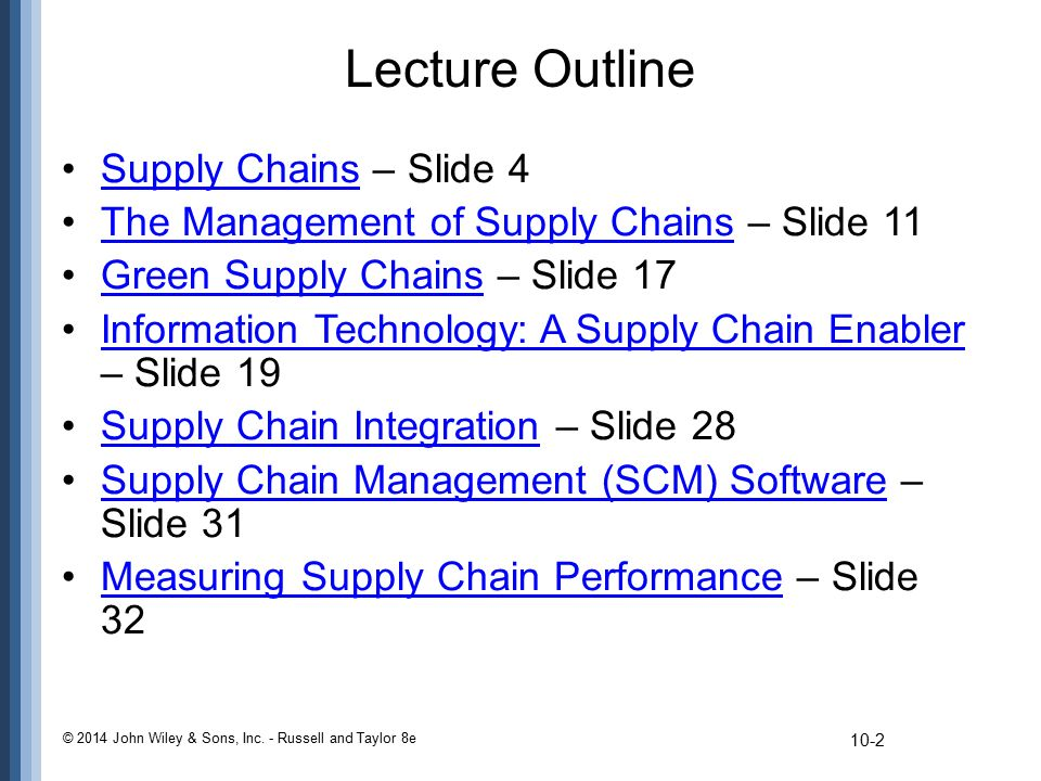 Lecture Outline Supply Chains – Slide 4