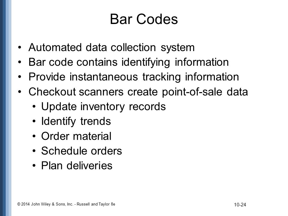 Bar Codes Automated data collection system