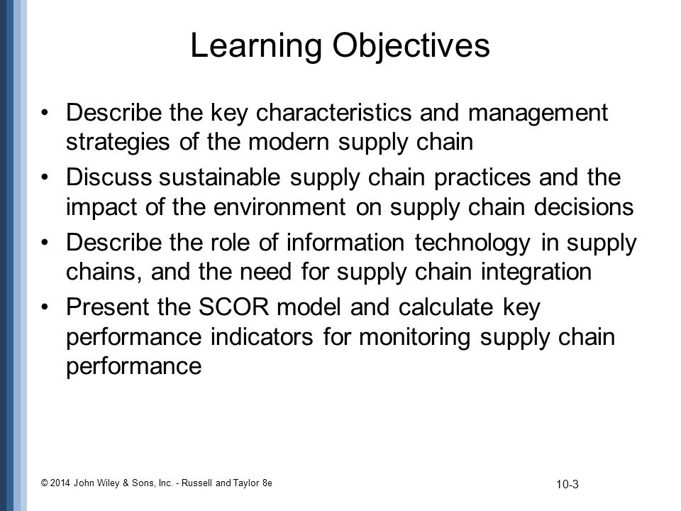 Learning Objectives Describe the key characteristics and management strategies of the modern supply chain.
