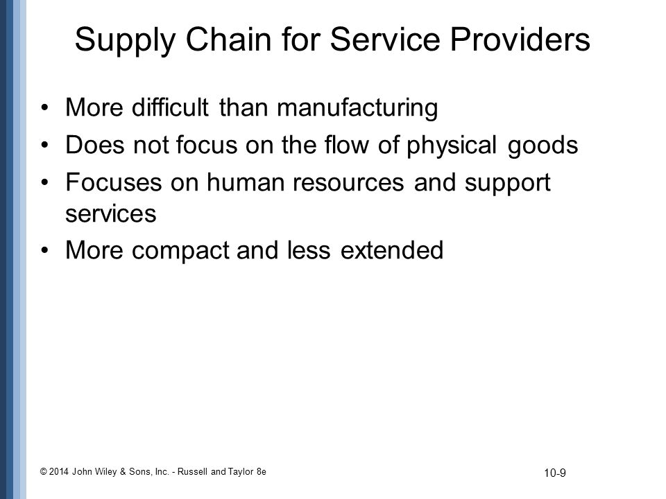 Supply Chain for Service Providers