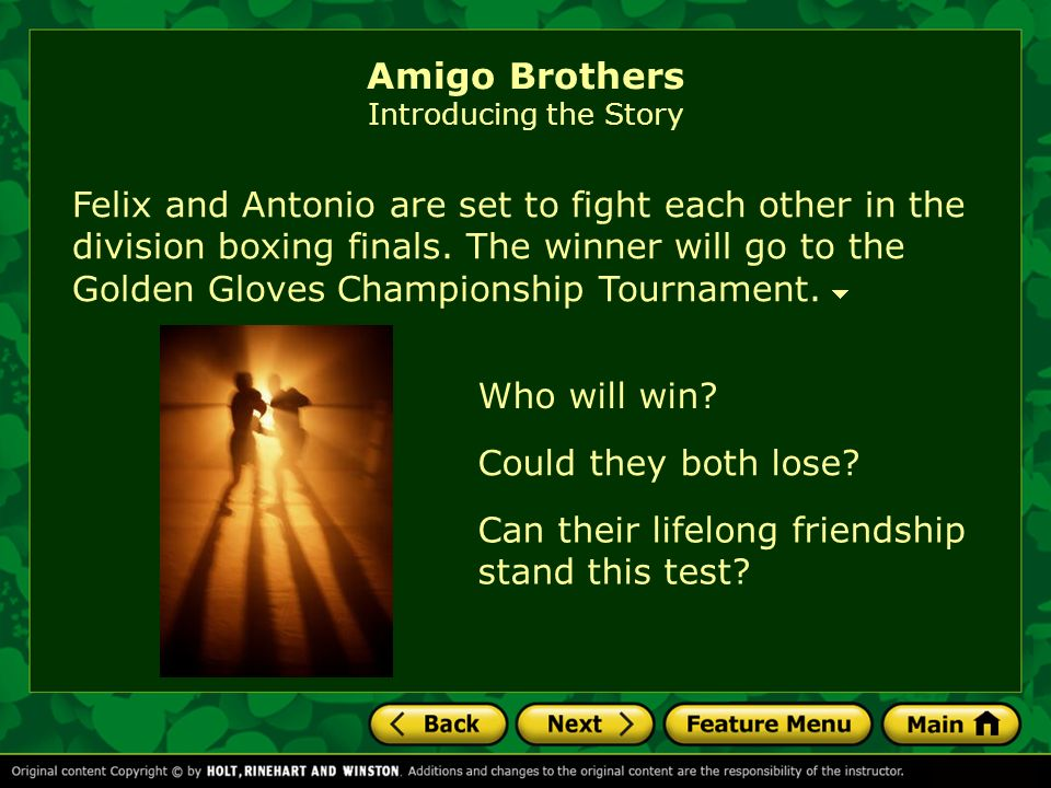 amigo brothers who won the fight