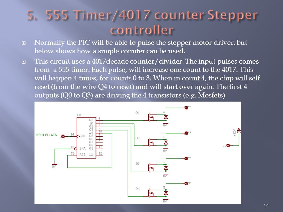 Timer/4017 counter Stepper controller