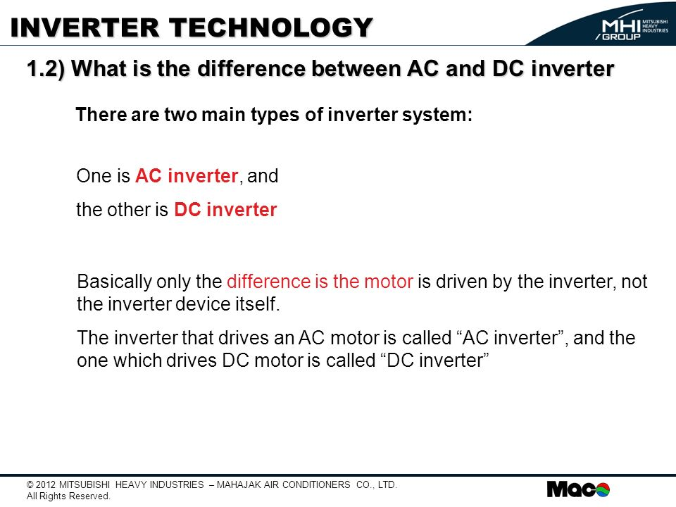 INVERTER TECHNOLOGY 1.2) What is the difference between AC and DC inverter. Structure of