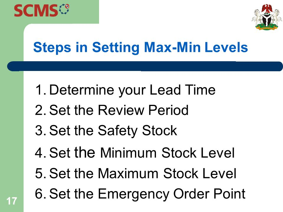 minimum stock level and maximum stock level