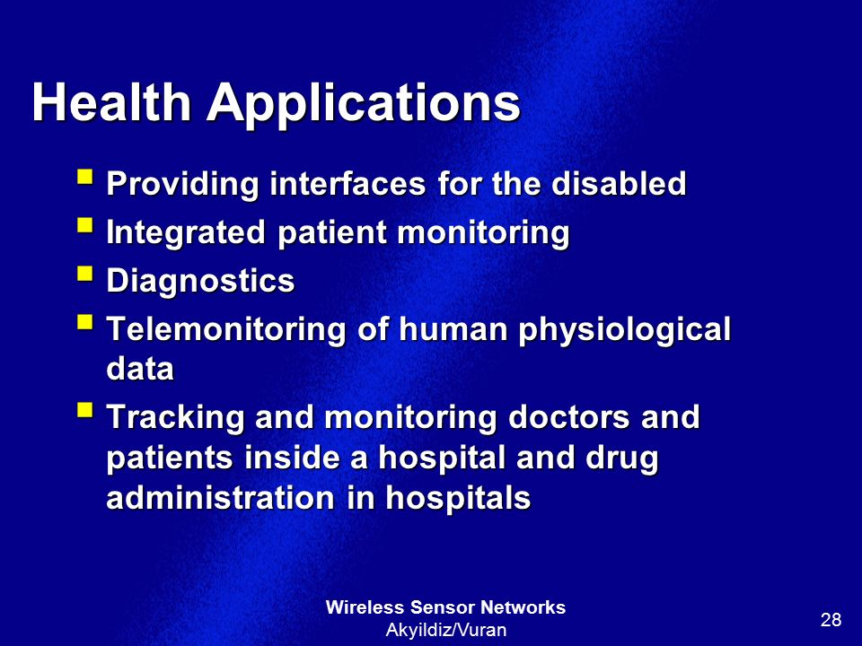 Health Applications Providing interfaces for the disabled