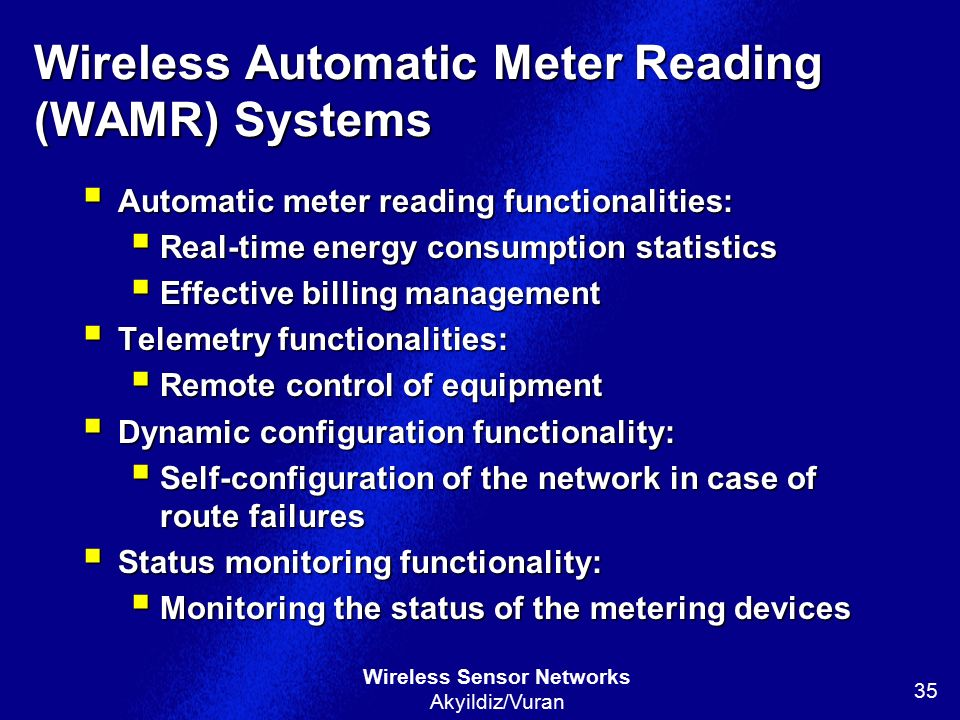 Wireless Automatic Meter Reading (WAMR) Systems