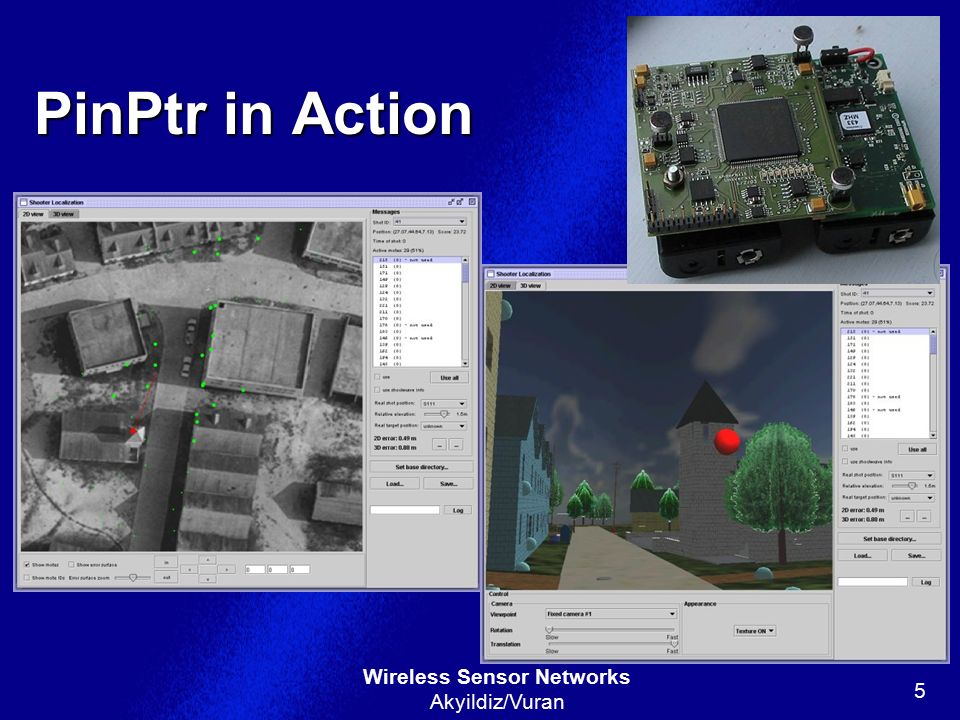 PinPtr in Action On left, Red dot is shooter and big green circles are activated sensors…green dots are sensors that did not activate.