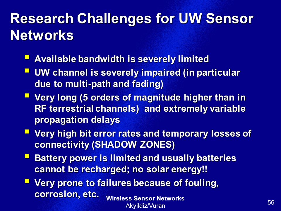 Research Challenges for UW Sensor Networks