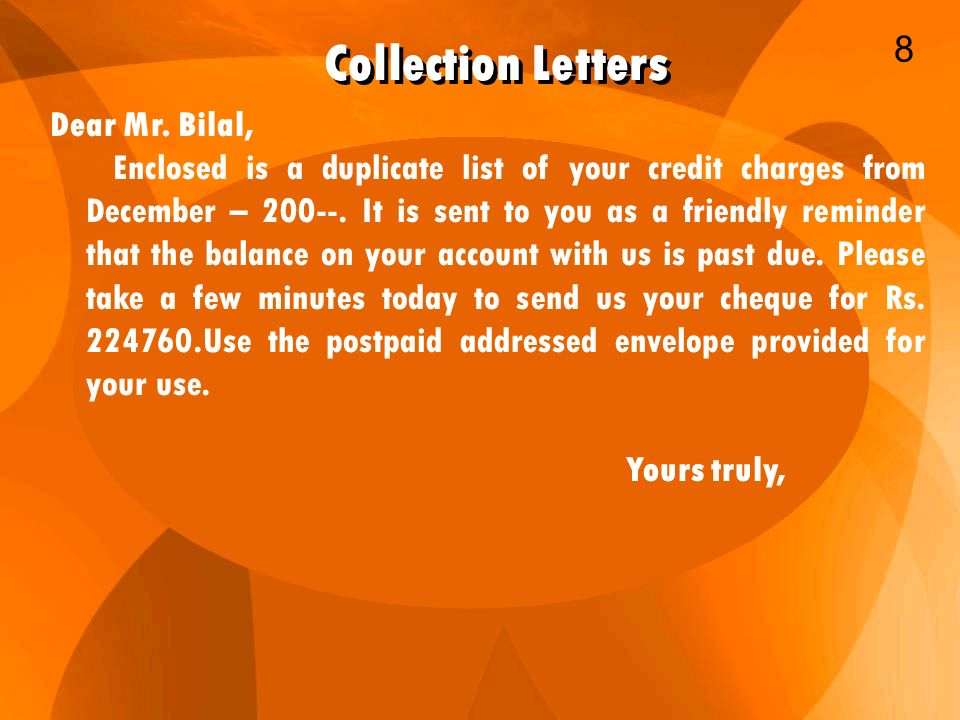 Collection Letters 8 Dear Mr Bilal