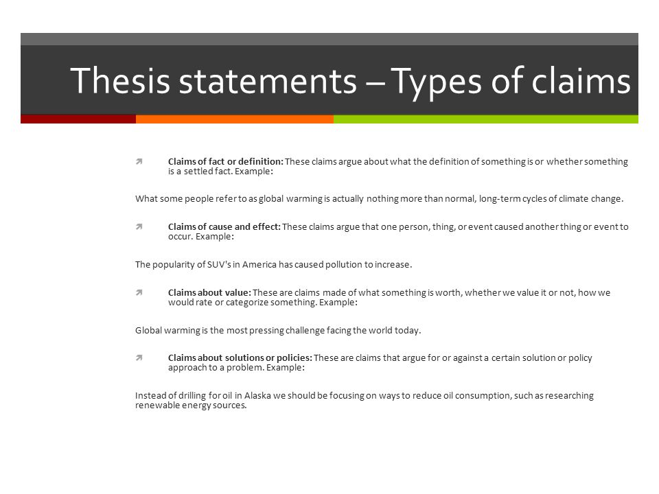 thesis stayment wirh argumentitive claim
