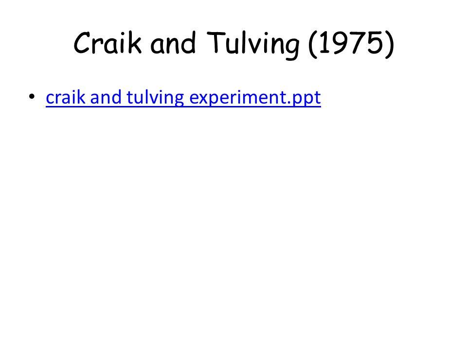 craik and tulving