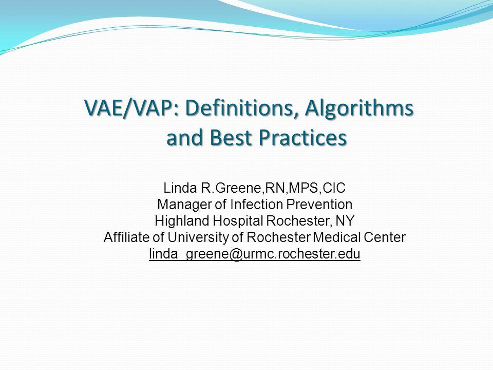 VAE/VAP: Definitions, Algorithms and Best Practices - ppt