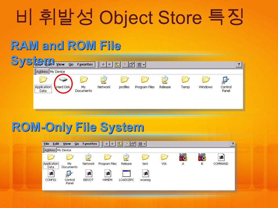 비 휘발성 Object Store 특징 RAM and ROM File System ROM-Only File System