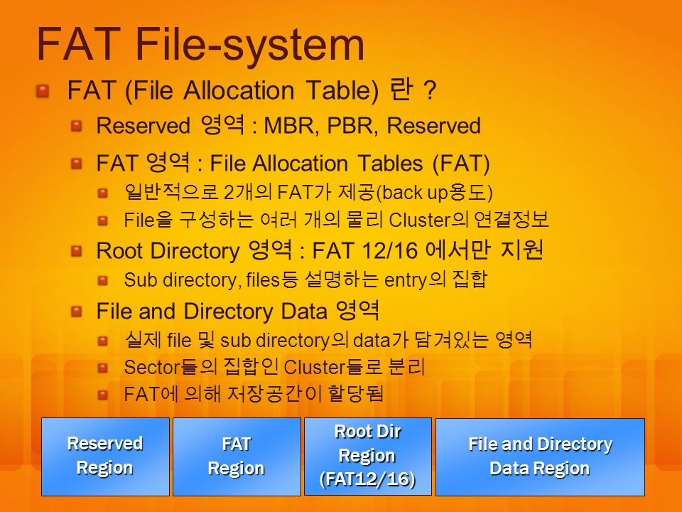 FAT File-system FAT (File Allocation Table) 란