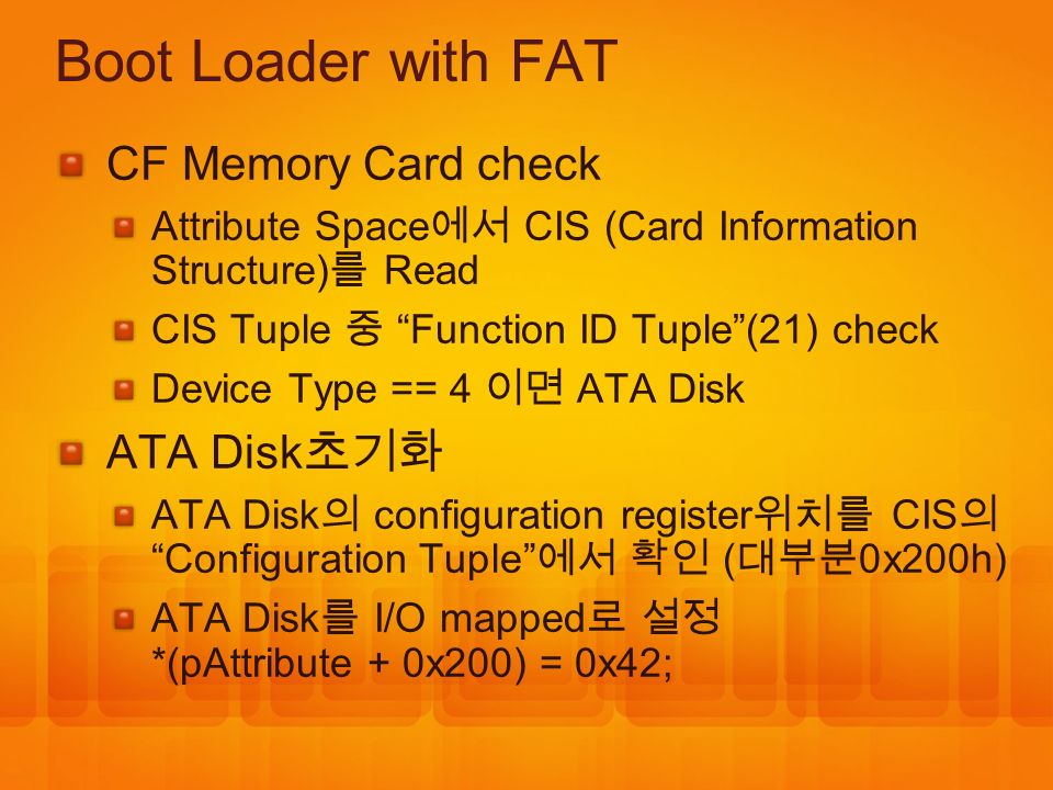 Boot Loader with FAT CF Memory Card check ATA Disk초기화