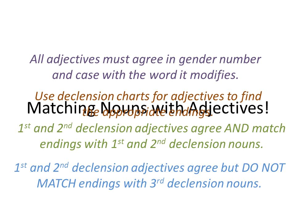 Matching Adjectives With Nouns Ppt Download