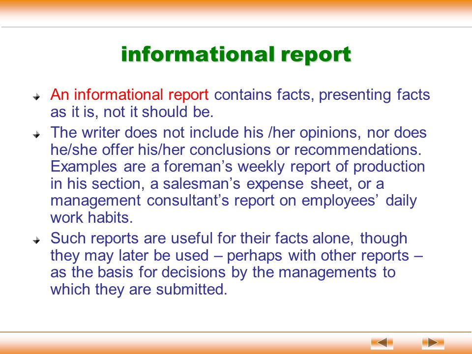 how to start a informational report