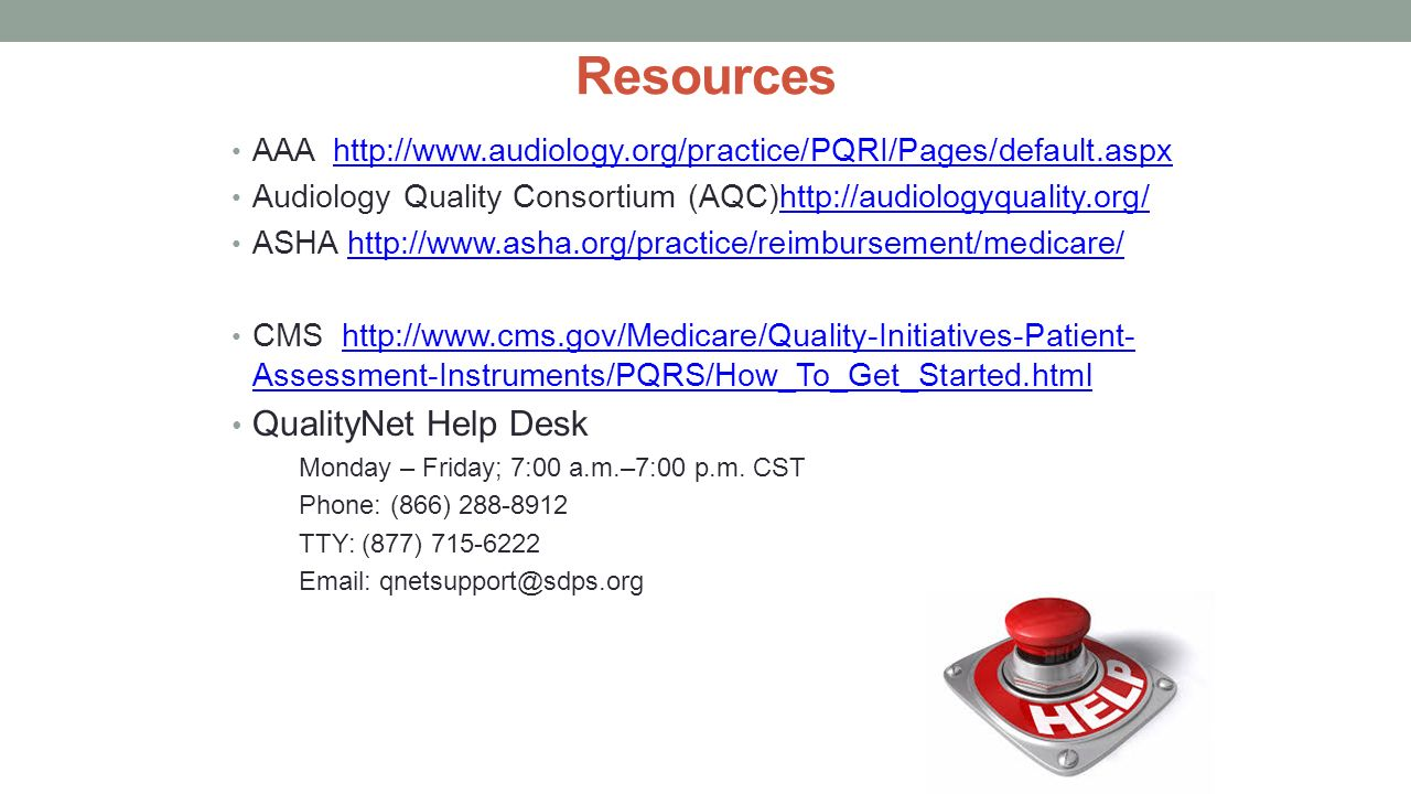 Resources QualityNet Help Desk