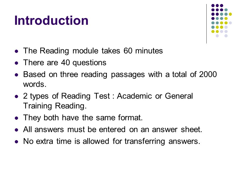 IELTS Reading Test GENERAL PRESENTATION - ppt video online download