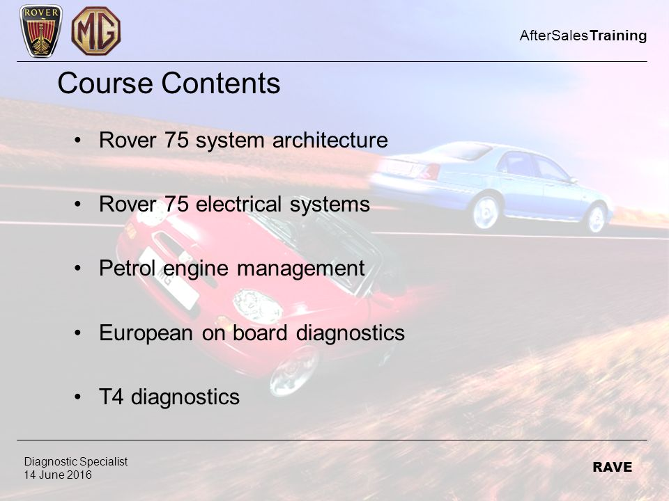 course contents rover 75 system architecture