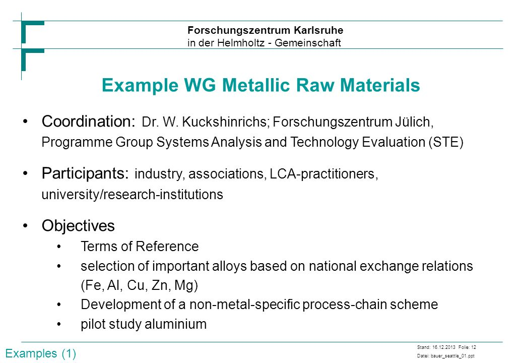 Example WG Metallic Raw Materials