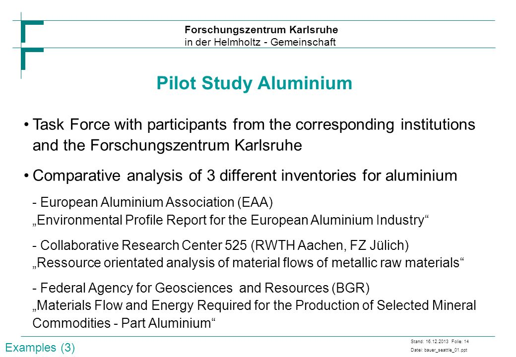 Pilot Study Aluminium Task Force with participants from the corresponding institutions and the Forschungszentrum Karlsruhe.