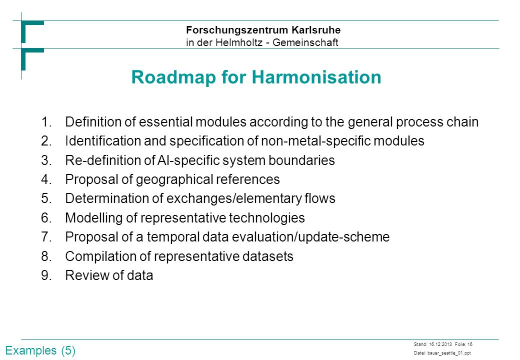 Roadmap for Harmonisation