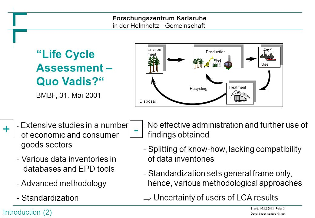+ - Life Cycle Assessment – Quo Vadis