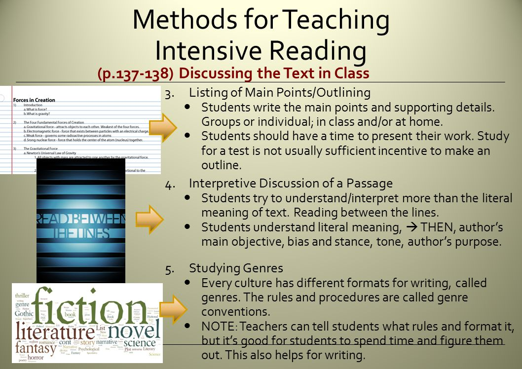 how to teach intensive reading Students cannot read beyond what they can speak teaching intensive english reading is either for native speakers or advanced english language students it's not entirely clear what's meant by 'intensive' - does that mean daily or advanced or b.