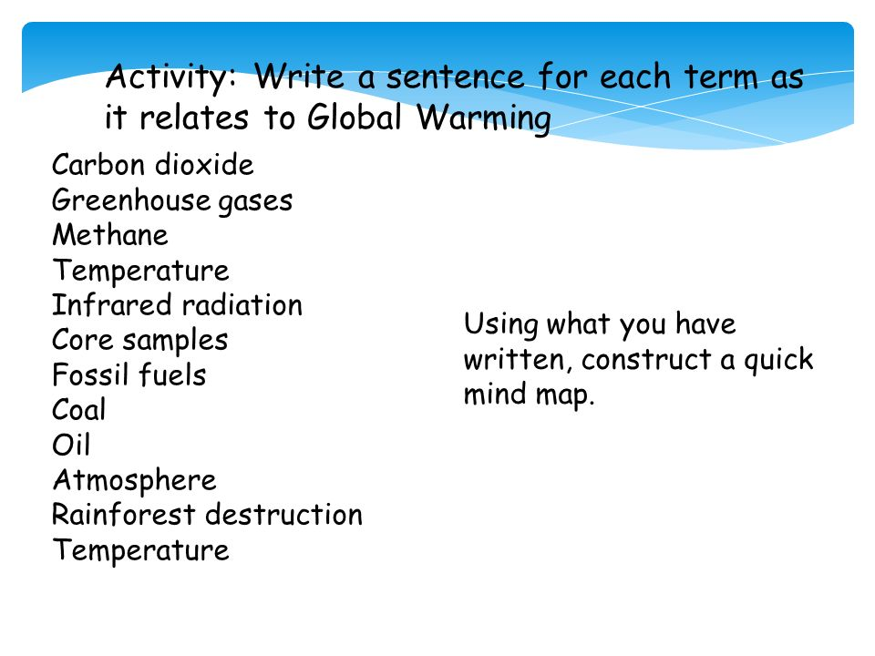 global warming thesis sentence Thesis statement:global warming has become a topic that cannot be ignored anymore, and society is being educated on how to stop it from going further you might to add another sentence or two at the beginning of you paragraph--maybe a sentence that has an interesting fact--but also relates to global.