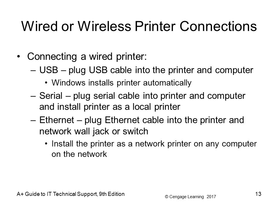 a guide to it technical support 9th edition ppt wired or wireless printer connections