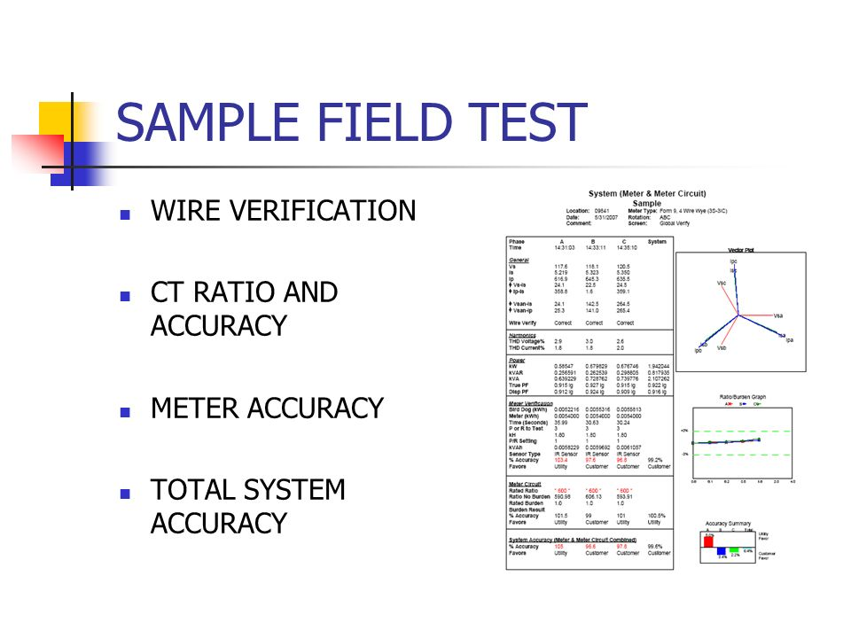 SAMPLE FIELD TEST WIRE VERIFICATION CT RATIO AND ACCURACY
