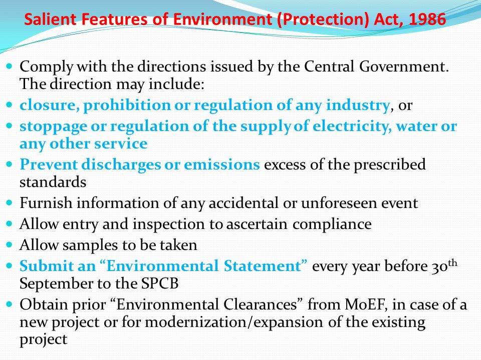 Environment protection act and rules, ppt download.
