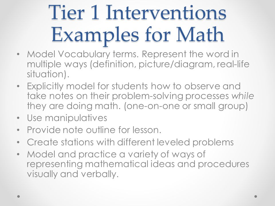 Elementary math » interventions and progress monitoring.