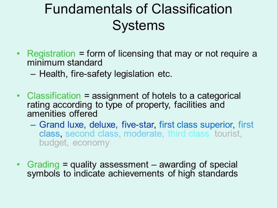 Accommodations and hospitality services ppt download 17 fundamentals of classification systems registration form thecheapjerseys Images