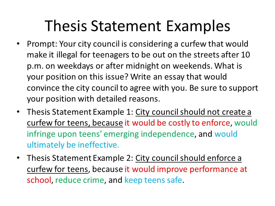 thesis statement examples A thesis statement should be a concise sentence that shows how you'll answer the question you have been given as a result, your statement has to be a strong one rather than a vague one for example.